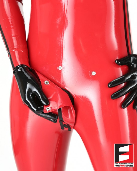 LATEX PLAYSUIT WITH TWO STRIPES & CODPIECE MEN BS01C2-M