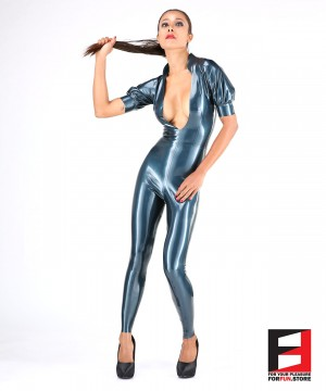 LATEX PUFF SLEEVES BODYSUIT WOMEN BS02-001-W