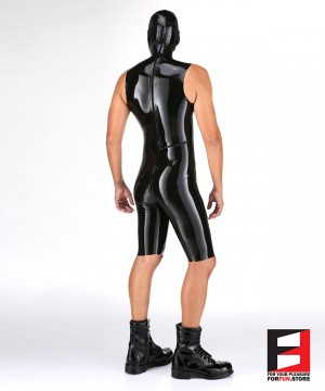 LATEX SLEEVELESS BODYSUIT WITH MASK MEN BS06-MAJ-M