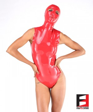 LATEX SLEEVELESS BODYSUIT WITH MASK WOMEN BS10-MAD-W