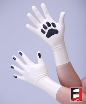 LATEX SHORT GLOVES WITH DOG PAWS GLCL-PD