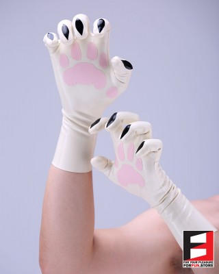 LATEX SHORT GLOVES WITH TIGER PAWS GLCL-P