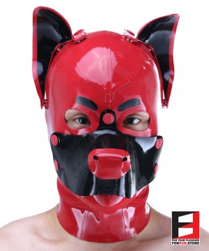 LATEX PUPPY MASK WITH BUTTONS MA-DB01