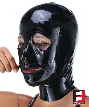 LATEX MASK EYES OPEN & MOUTH ZIP MAJ
