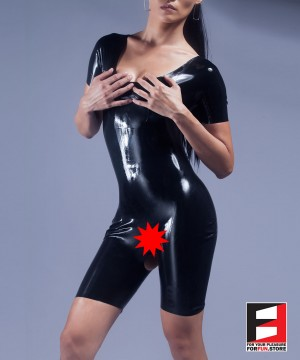 RUBBER BODYSUIT SHORT LEGS OPEN BREAST&CROTCH WOMEN RR252