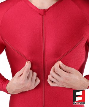 SPANDEX SHINY PLAYSUIT RED WITH CHEST ZIPPERS PLZ08