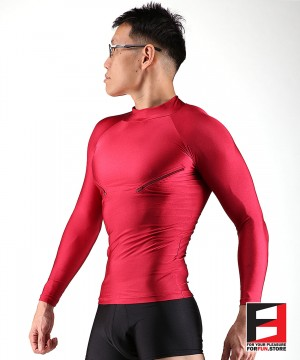 SPANDEX SHIRTS RED WITH CHEST ZIPPERS SHAZ