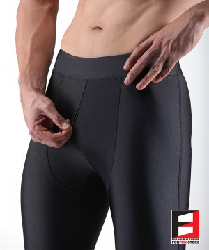 SPANDEX LEGGINGS BLACK WITH CROTCH ZIPPER (LOWER RISE) LGALZ