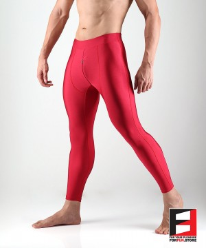 SPANDEX LEGGINGS RED WITH CROTCH ZIPPER (LOWER RISE) LGALZ