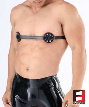LEATHER BREAST BAND WITH NIPPLES SPIKED BT001