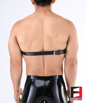LEATHER BREAST BAND WITH OPEN NIPPLES SPIKED BT002