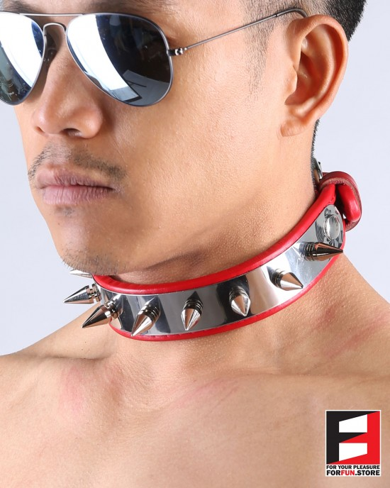 LEATHER WITH SPIKES COLLAR CL004B