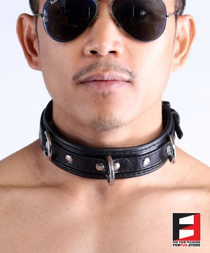 LEATHER BONDAGE COLLAR CL008A