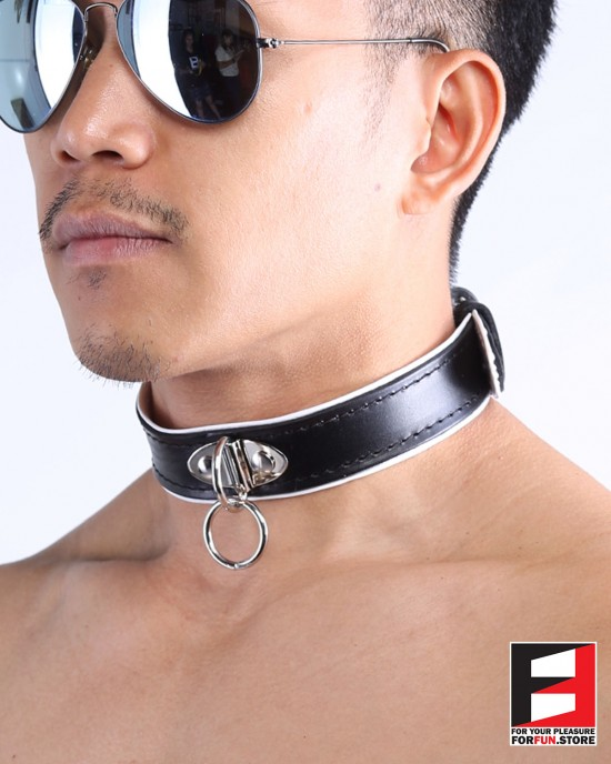 LEATHER RING-CHOKER COLLAR CL009A