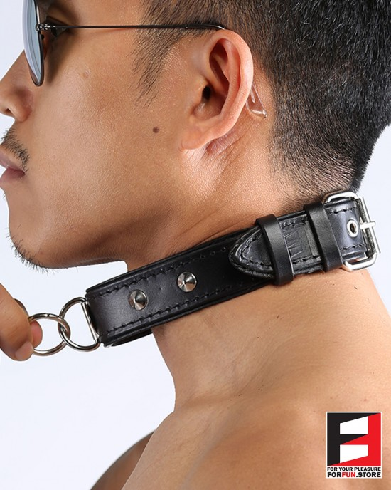LEATHER RING-CHOKER COLLAR WITH STUDS CL009B