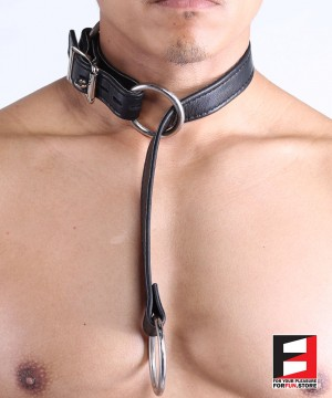 LEATHER SERIOUS BONDAGE CHOKER COLLAR CL010A