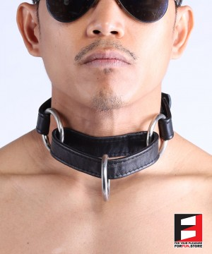 LEATHER SERIOUS BONDAGE CHOKER COLLAR CL010B