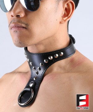 LEATHER O-RING COLLAR CL012A