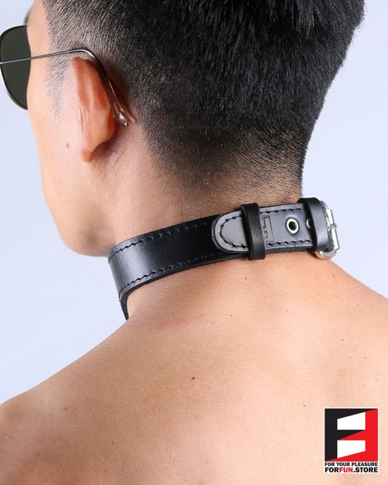 LEATHER O-RING COLLAR CL012B