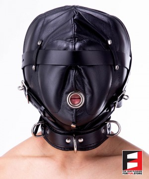 DARK & SILENT LEATHER HOOD MA001