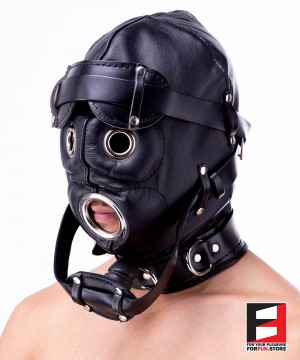 LEATHER ROUND EYES GIMP HOOD WITH GAG MA004-01