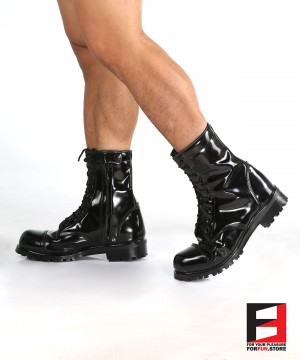 LEATHER POLISH COMBAT BOOTS SE-BOOT10