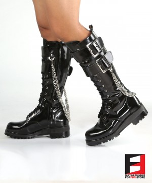 LEATHER POLISH TALL BOOTS WITH BELT & CHAIN SE-BOOT18A