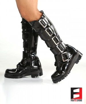 LEATHER POLISH TALL BOOTS WITH BELTS SE-BOOT18B