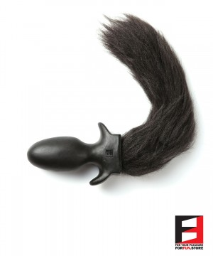 BLACK LONG FURRY PUPPY TAIL PLUG